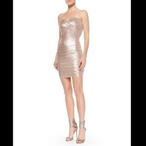 Herve Leger Nazik Sequin Bandage Dress, Bare Combo